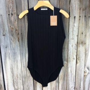 NWT Reformation Bells Ribbed Knit Bodysuit Black S